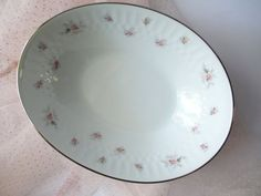 Vintage 60s Noritake Mabel Pink Gray Oval Serving by thechinagirl