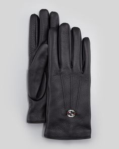 Gucci Men's Leather Interlocking G Gloves, Black | mens black leater gloves | menswear | mens style | mens fashion | wantering http://www.wantering.com/mens-clothing-item/mens-leather-interlocking-g-gloves-black/aeO9F/