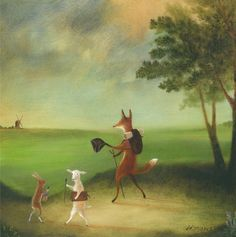 """Fine Art Print of Original Animal Painting: """"Master Lamb and His Painting Tutor Discoursing on Perspective, on the Way to Atherstone, 1785"""" by TheLitusGallery on Etsy https://www.etsy.com/listing/241146248/fine-art-print-of-original-animal"""