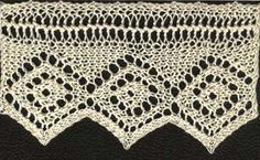 Free knitting pattern for a diamond edged lace. Updated from the Victorian original for modern knitters, charted and test knit.