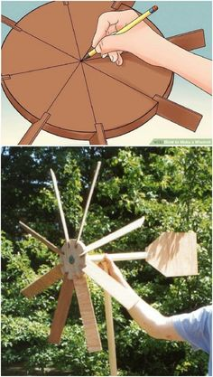 Garden windmill - 10 Gorgeous DIY Windmills That Add Charm To Your Lawn And Garden Homemade Windmill, Windmill Diy, Wooden Windmill, Garden Crafts, Diy Garden Decor, Garden Projects, Garden Ideas, Fence Ideas, Diy Crafts