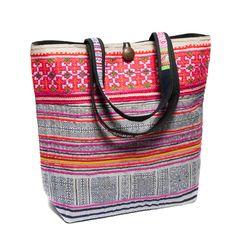 Colorful large tote bag.