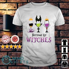 Maleficent bottoms up witches wine shirt, hoodie and v-neck t-shirt Maleficent Halloween Costume, Maleficent Art, The Worst Witch, Love Shirt, Cat Shirts, Sweater Hoodie, Witches, The Help, V Neck T Shirt