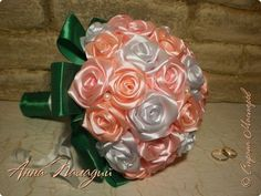 Поделка изделие Свадьба Цумами Канзаши Свадебный букет для сестры Ленты фото 5