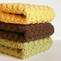 Crochet Cotton Dishcloths Sunflower by WarmAndWoolly on Etsy, $9.03