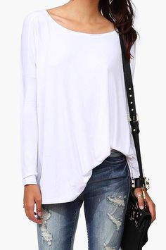 basics, white long sleeve tee and ripped jeans