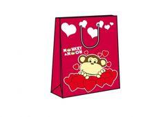 MONKEY SHOPPER S 18X23X10. Shopper piccola di colore rossa con disegnata una scimmia