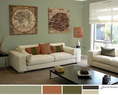 Warm sage green living room with rusty orange. See website for details.