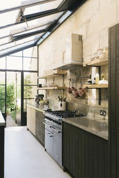 Inside a Fashionista's Dream Kitchen LIV for Interiors / Modern Rustic deVOL Kitchen Outdoor Kitchen Design, Home Decor Kitchen, Interior Design Kitchen, Modern Interior, Interior Architecture, Kitchen Ideas, Kitchen Designs, Diy Kitchen, Kitchen Furniture