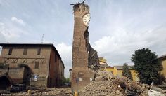 Crumbling down: An old tower collapsed after the earthquake in Finale Emilia
