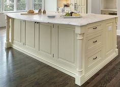 20 kitchen island designs. Photo gallery, many styles & countertop types, custom-made islands. Awesome kitchen island designs for inspiration & ideas here.