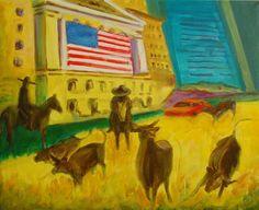 Wall Street bulls on the Run painting by Bertram Poole