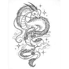 Dragon Tattoo Sketch, Dragon Tattoo Designs, Tattoo Sketches, Tattoo Drawings, Body Art Tattoos, Sleeve Tattoos, Spirited Away Tattoo, Studio Ghibli Tattoo, Dragons Tattoo