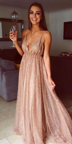 Gorgeous A Line V Neck Backless Gold Tulle Long Prom Dresses, Sparkly Evening Party Dresses PD0908012