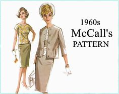 1960s Sewing Pattern - Vintage McCall's 6840 - Misses' Suit and Blouse - Size 14 Bust 34 - McCalls Sewing Pattern - UNCUT, Jacket Skirt Top by EightMileVintageSews on Etsy