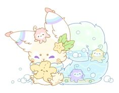 [CLOSED] Dreamkit by Sarilain. The Octopuffs inside can pop through to the outside and the fur is still soft around the water. Cute Kawaii Animals, Cute Animal Drawings Kawaii, Kawaii Art, Cute Drawings, Cute Fantasy Creatures, Cute Pokemon Wallpaper, Cute Monsters, Cartoon Art Styles, Cute Doodles
