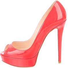 Christian Louboutin Patent Leather Peep-Toe Pumps - Coral patent leather Christian Louboutin peep-toe platform pumps with tonal stitching and covered heels.