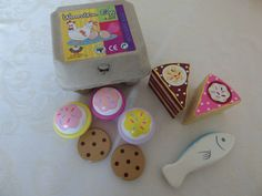 Wooden play food - Cake, Cookies, Fish and Box of Eggs - L@@K