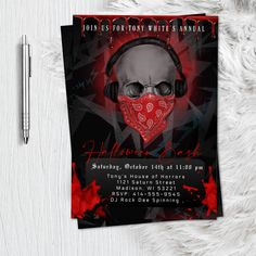Adult Halloween Party Invitation Bloody Skull scary halloween birthday costume party skull spooky haunted printable or printed invitation Adult Halloween Invitations, Adult Halloween Party, Scary Halloween, Halloween Queen, Fall Halloween, Halloween Ideas, Masquerade Invitations, Graduation Party Invitations, Photo Invitations