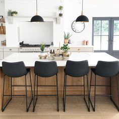Kitchen: Love how clean and bright this is. Also similar color I'm thinking for floors Cosy Kitchen, Kitchen Stools, Home Decor Kitchen, Kitchen Interior, Kitchen Island Chairs With Backs, Black Kitchen Island, Black Kitchen Chairs, Bar Stools With Backs, Black Bar Stools