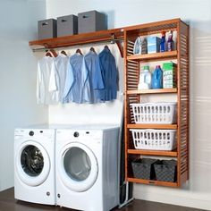 Small laundry room makeover Shop John Louis Home deep Laundry Organizer Honey Maple - Free Small Laundry Rooms, Laundry Room Organization, Laundry Room Design, Laundry Organizer, Storage Organization, Storage Shelves, Storage Design, Garage Laundry Rooms, Storage Ideas