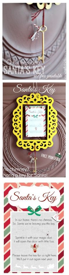 Santas key solves the no chimney problem! With free printable//NellieBellie