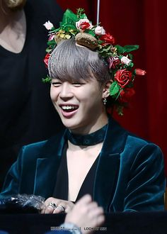 Jimin Taken by Look At Min | Happy jimin with Christmas flower crown