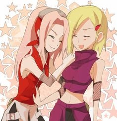 Somewhere in another universe. Long haired Sakura? Short haired Ino?