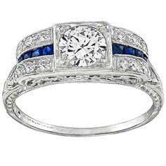 Art Deco Old Mine Cut Diamond Sapphire Platinum Engagement Ring | 1stdibs.com