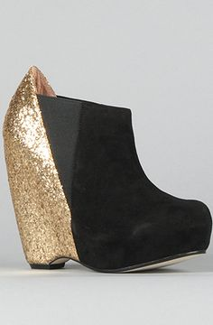bc225599637 The Narcisco Shoe in Black Suede and Gold Glitter Shiny Shoes