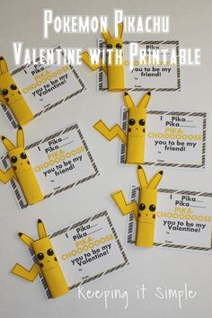 Easy Homemade Valetine- Pokeman Pikachu valentine with printable