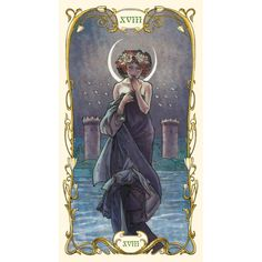 The Moon, from the Mucha Tarot