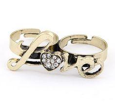 Antique Bronze Adjustable Love Double Ring.