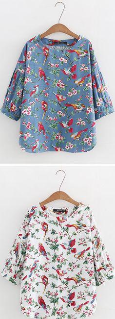 US$ 23.99 Ethnic Style Printed Lantern Sleeve Shirts For Women