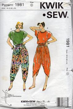 These are the 80's harem pants! Kwik Sew 1981 Misses Loose Fitting Yoga Harem Pants  by mbchills,