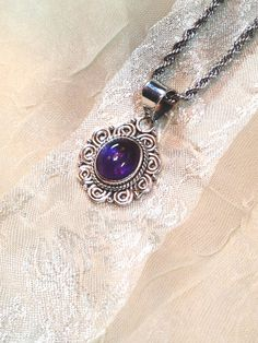 African Amethyst Necklace in Sterling Silver by NorthCoastCottage