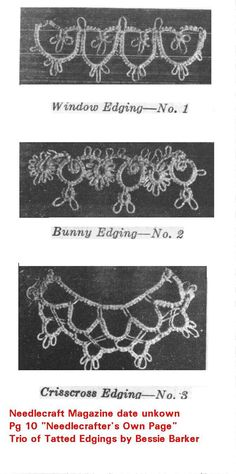 Trio of Tatted Edgings by Bessie Barker