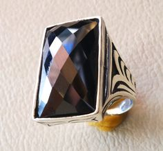 very huge heavy men ring onyx sterling silver by AbuMariamJewels