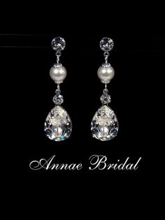 Crystal & pearl teardrop earrings Bridal wedding by AnnaeBridal, $44.00