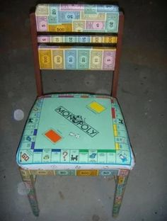 Top 10 Ways To Recycle Monopoly Boards And Game Pieces Monopoly is one of those board games I hate. I couldn't understand it, I wasn't ruthl. Funky Furniture, Furniture Makeover, Painted Furniture, Furniture Ideas, Recycling Furniture, Upcycled Furniture, Old Board Games, Old Games, Game Boards