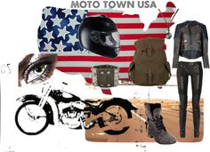 """Moto Town USA"" by rhinestonesandrouge on Polyvore"