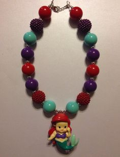 Girls Chunky Necklace, Girls Bubblegum Chunky Necklace, Little Mermaid Chunky Necklace on Etsy, $18.00
