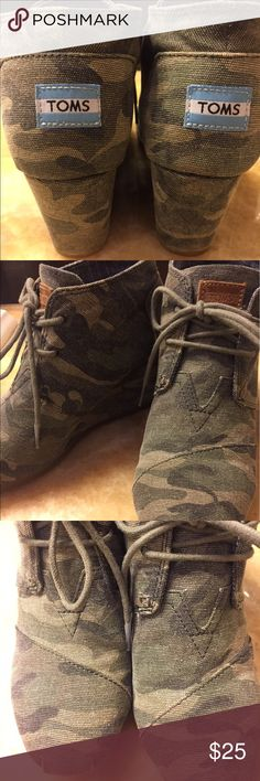 Camp Booties Camo Booties worn twice.  Great condition. TOMS Shoes Ankle Boots & Booties