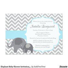 cute elephant chevron light blue baby shower card | chevron, Baby shower invitations