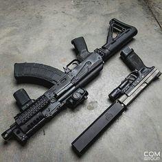 knives, guns, and tactical gear © Motaz Al Tawil Military Weapons, Weapons Guns, Guns And Ammo, Armas Wallpaper, Armas Ninja, Fire Powers, Custom Guns, Cool Guns, Assault Rifle