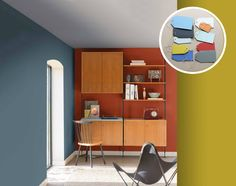 Dulux Colour of the Year Denim Drift - family tonal colour palette, blue hues - The Working Home Denim Drift Dulux Paint, Blue And Yellow Living Room, Feature Wall Living Room, Feature Walls, Color Of The Year 2017, Beige Bathroom, Bathroom Wall, Workspace Inspiration, Cheap Home Decor