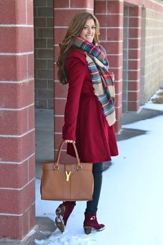 Red Coat + Plaid Scarf