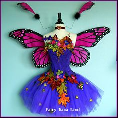 Adult Fairy Costume - corset bust 34 Thew Fuchsia MONARCH BUTTERFLY Faerie
