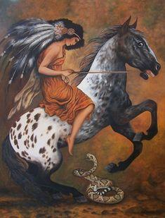 Frightened Appaloosa Horse, fine art giclee reproduction, original acrylic,painting, cowboy & indian western art, Glenda Okiev