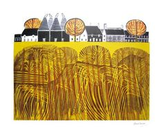 """Village by Robert Tavener Signed limited edition linocut print. Art And Illustration, Graphic Design Illustration, Linocut Prints, Art Prints, Block Prints, Indigenous Art, Wood Engraving, Printmaking, Drawings"